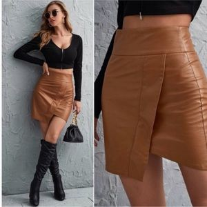 Dresses & Skirts - Asymmetrical Wide Waist Vegan Leather Skirt- TAN